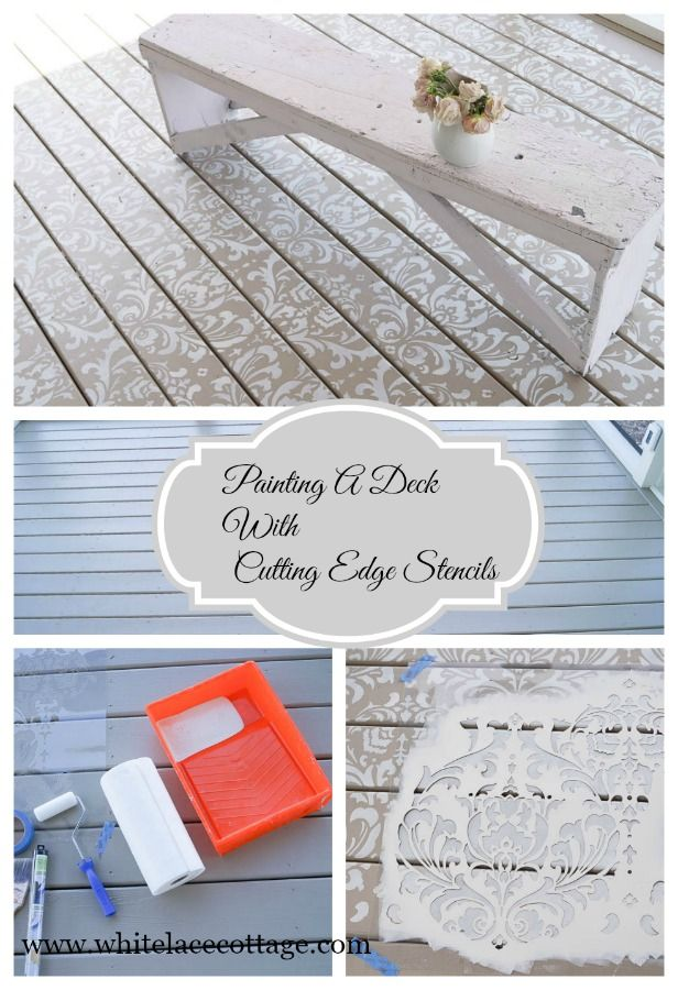 Painting A Deck And Using Cutting Edge Stencils - White Lace Cottage