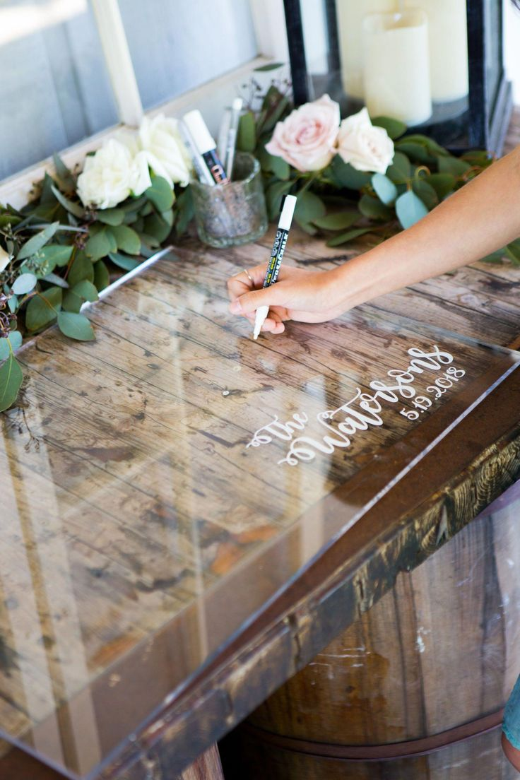 Diy Crafts Personalized Clear Acrylic Wedding Guestbook Handmade