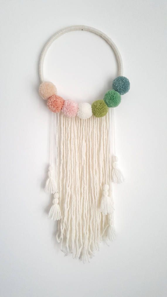 Pompom Wall Hanging - Custom To Order Make your wall beautiful with this soft po...
