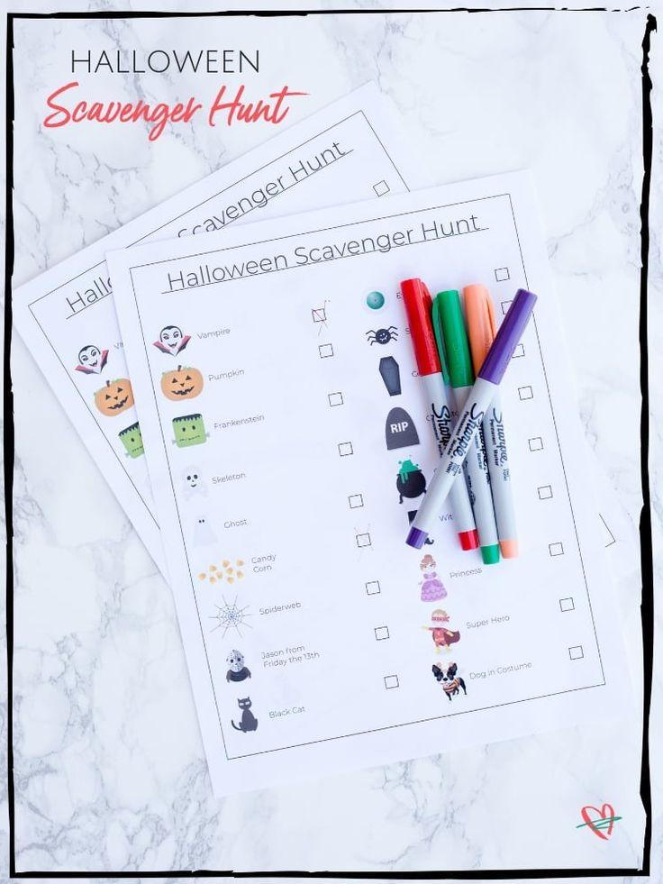 Printable Halloween Scavenger Hunt. So fun to do on Halloween Night with the Kid...