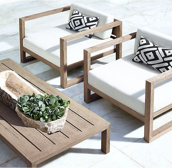 RH's Aegean Teak Lounge Chair:Influenced by the low, linear silhouettes of s...