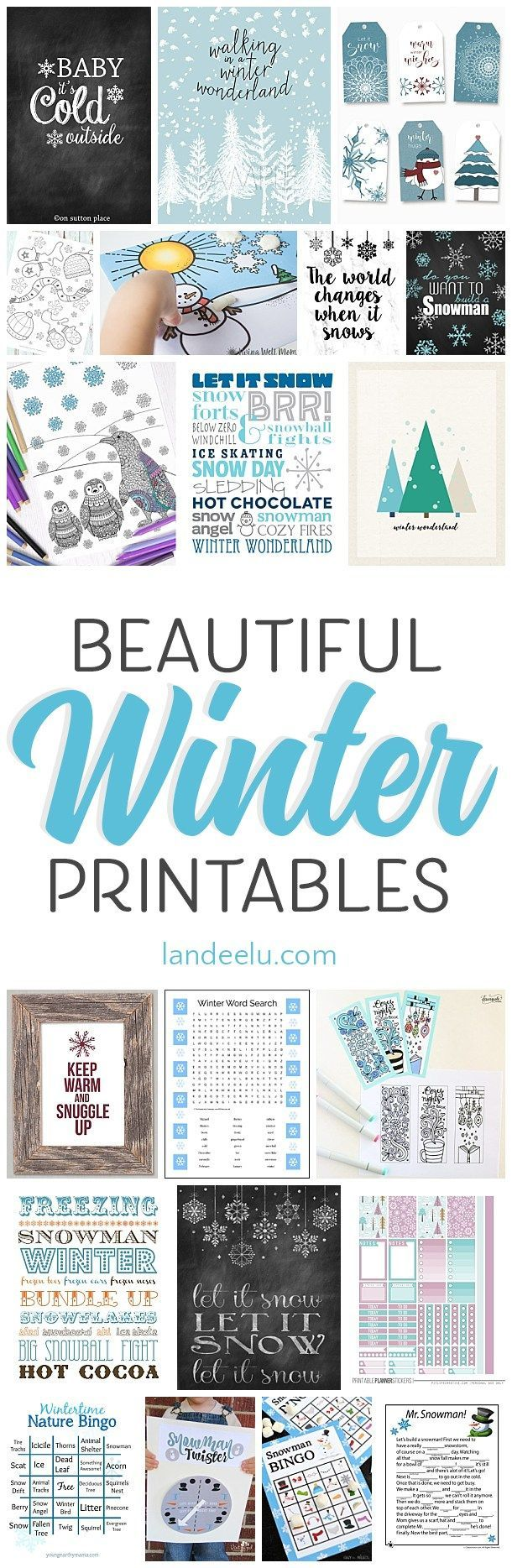 SO many winter theme printables! And they are all free! #Printables #winter