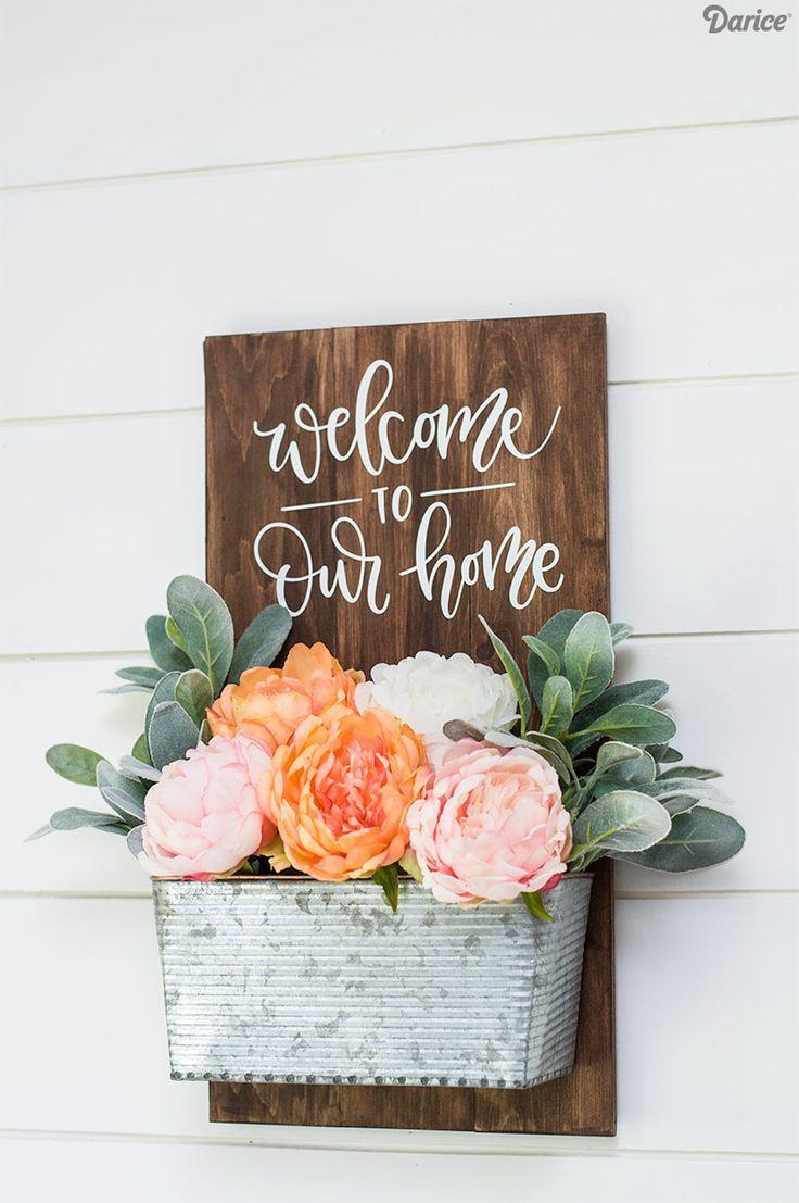 Simple DIY Welcome Sign - wood sign - planter DIY - planter decor - wood sign de...