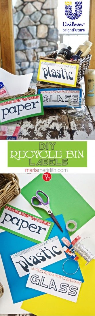 Super cute (and easy-to-make) DIY recycle bin labels for your bathroom products!...