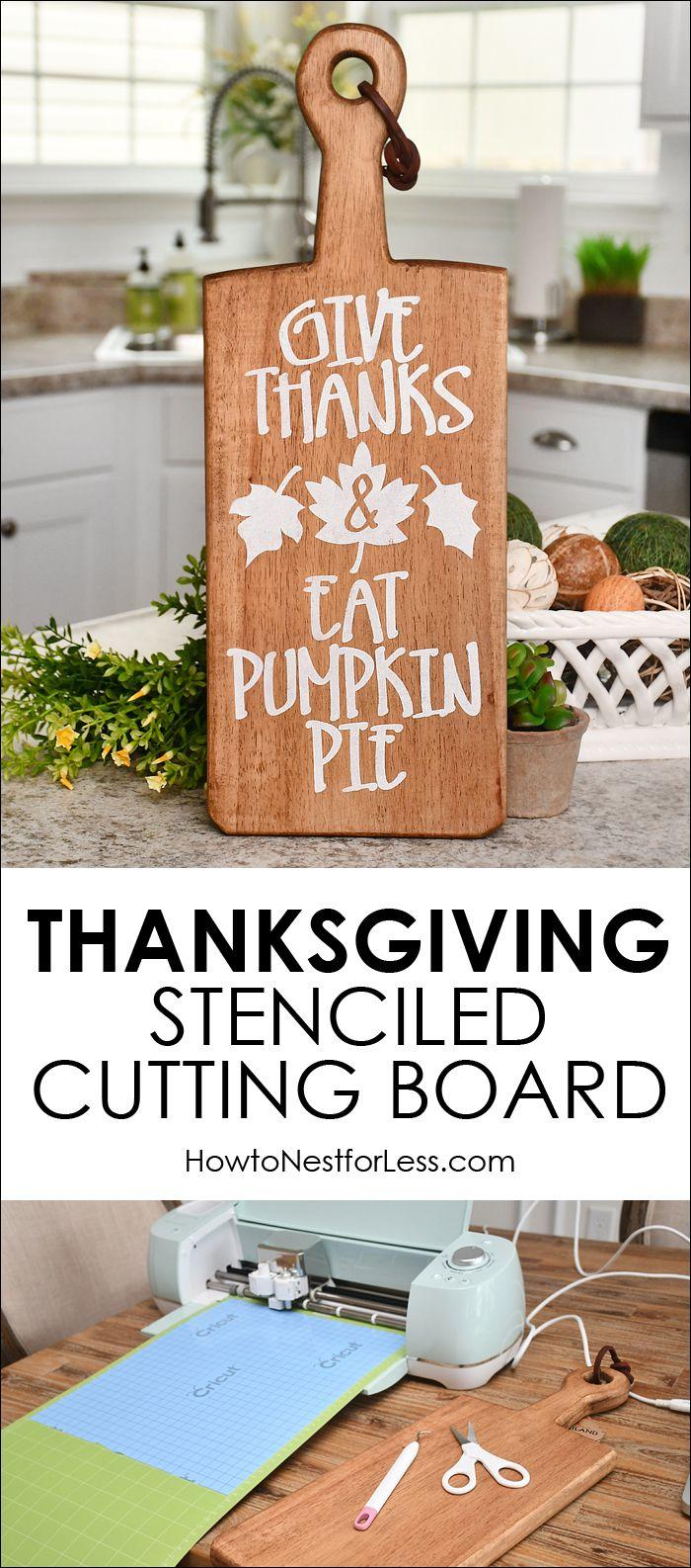 Diy Crafts Thanksgiving Stenciled Cutting Board Easy Diy