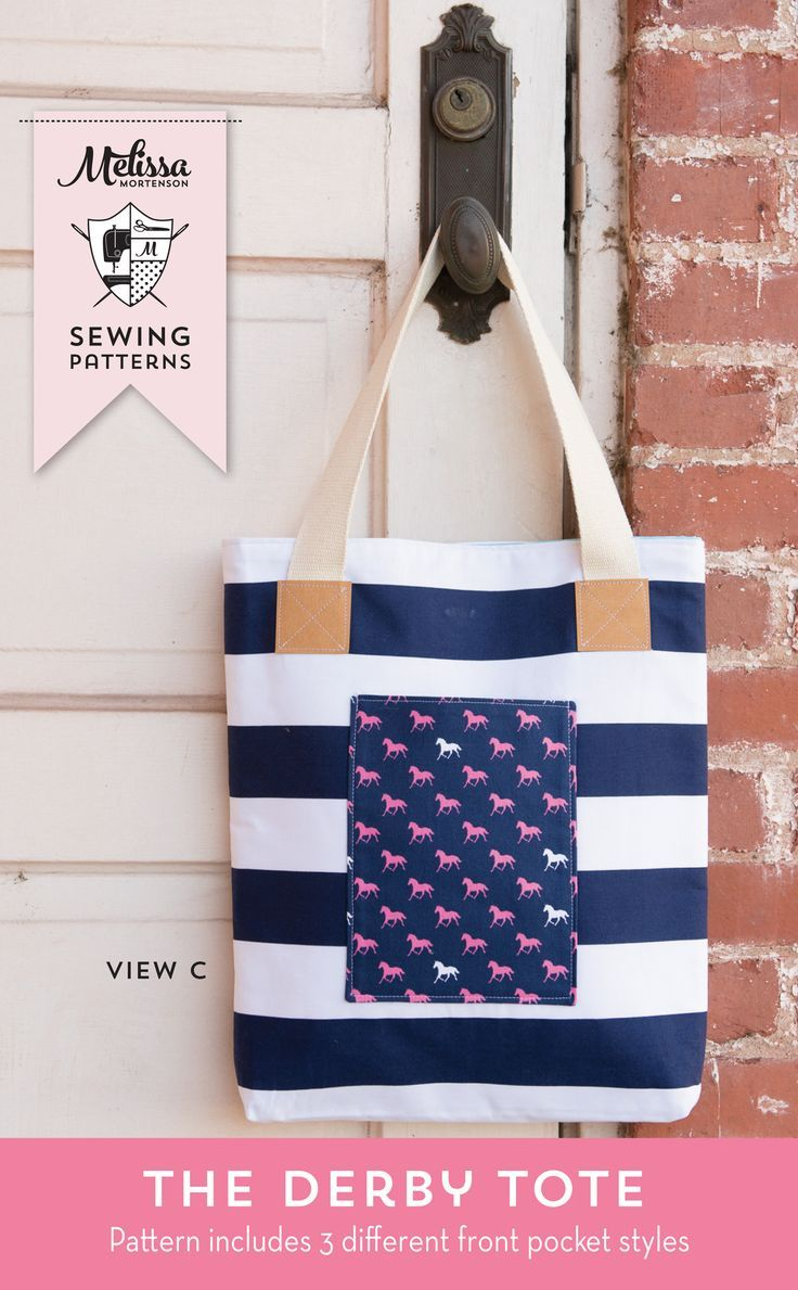 The Derby Tote Bag Sewing Pattern; great simple and versatile tote bag pattern t...
