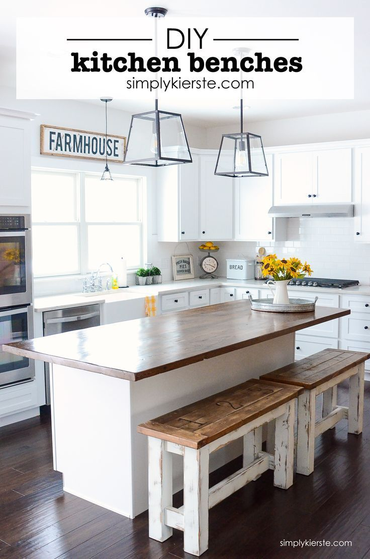 These charming farmhouse style kitchen benches are perfect up at your island! Th...