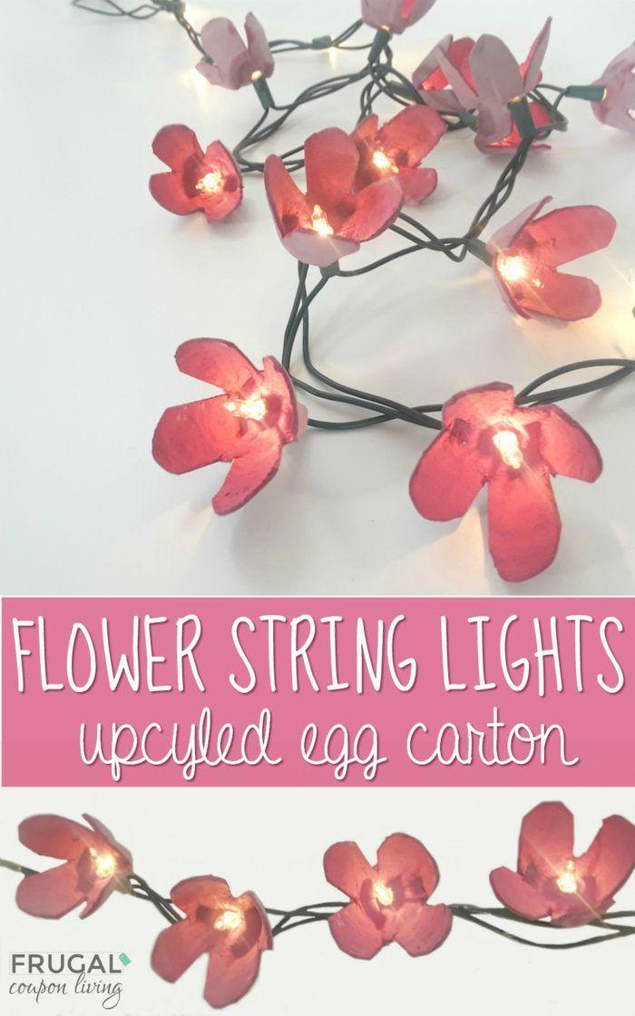 Upcycled Egg Carton Craft - DIY Flower String Lights. College Dorm Room Lights o...