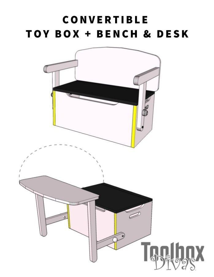 3 in 1 convertible Kids Bench + Toy box storage that converts into a desk.  Orga...