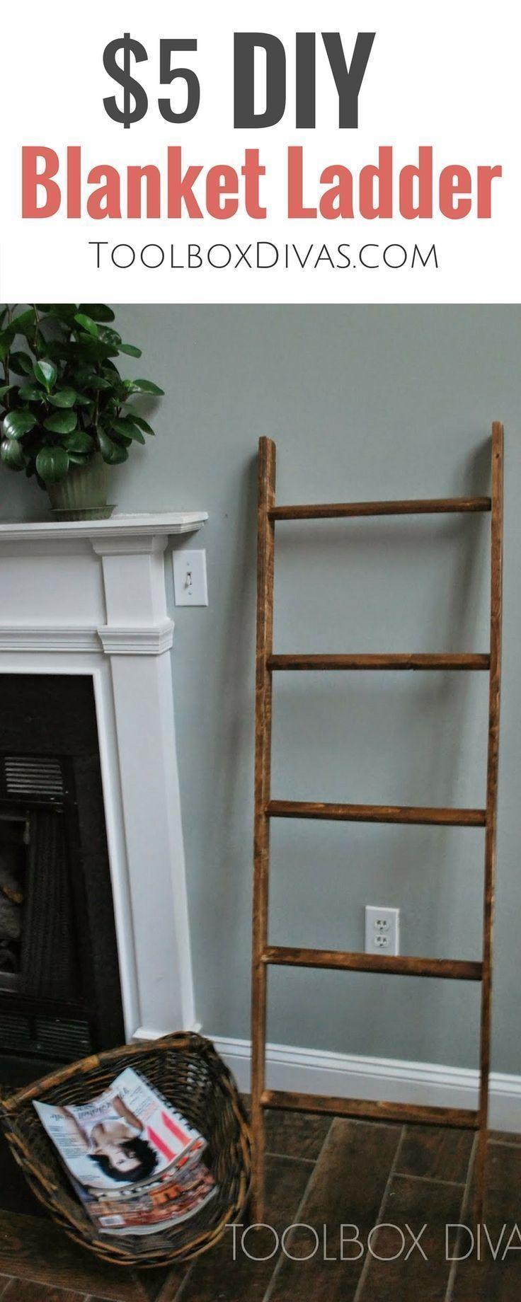 $5 DIY blanket ladder. farmhouse decor easy beginner woodworking. pottery barn k...