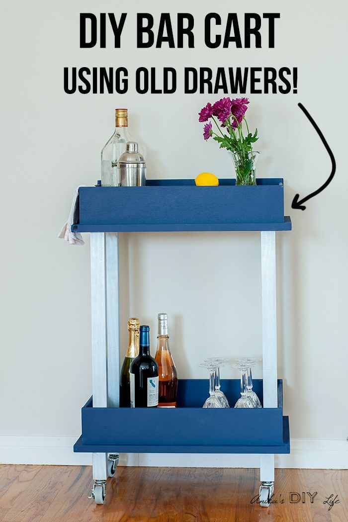 Awesome drawer repurpose idea! I love this DIY bar cart made from old drawers! s...