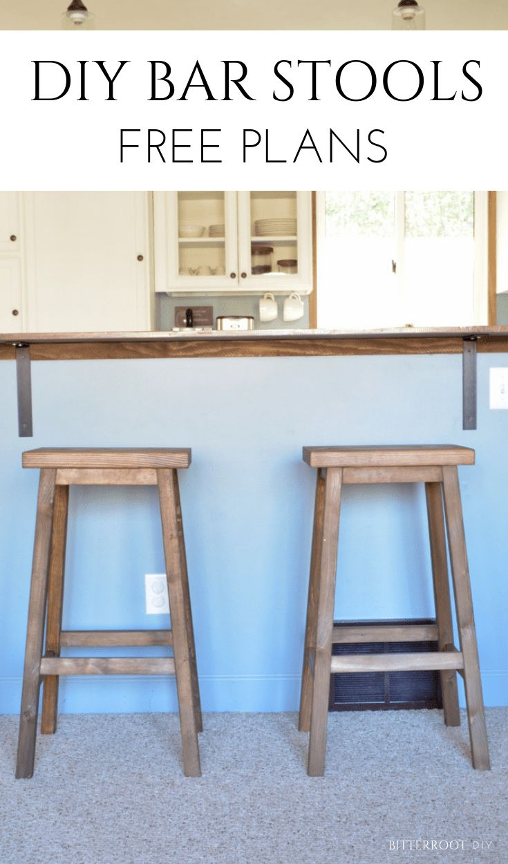 DIY Bar Stools | free plans from Bitterroot DIY #woodworking #freeplans #barstoo...
