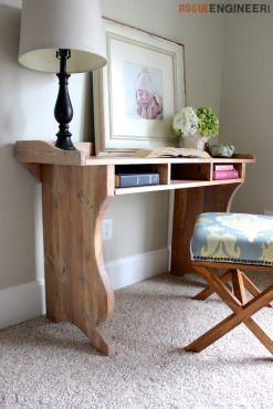 DIY Sicily Writing Desk Plans | Free Plans | rogueengineer.com #DIYwritingdesk #...