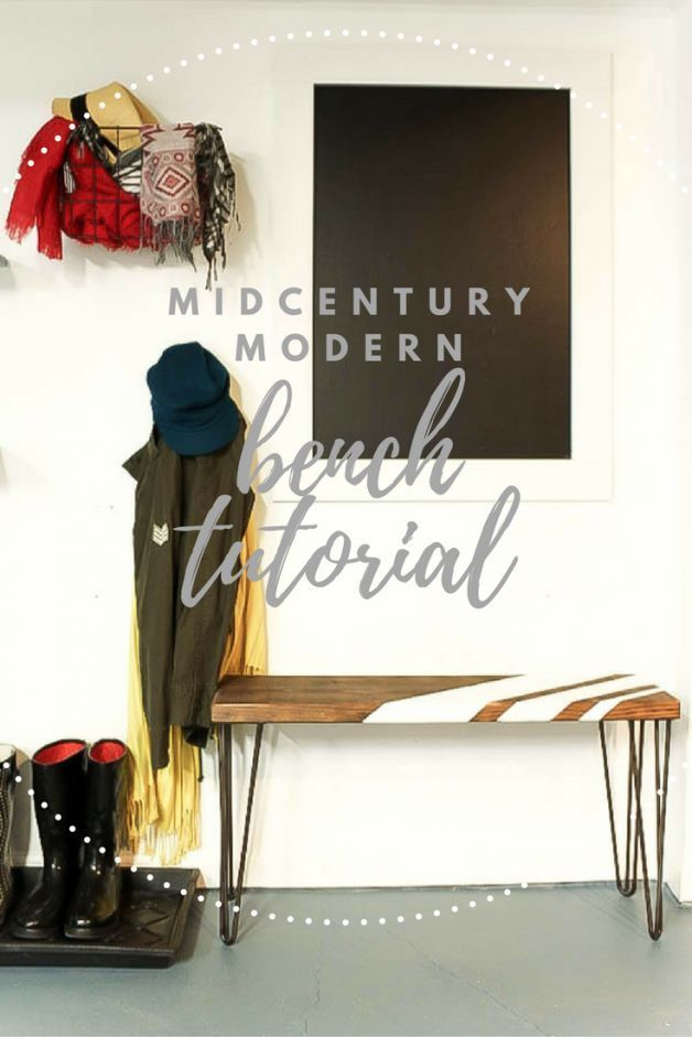 DIY midcentury modern bench with hairpin legs tutorial.  Created for drop zone i...