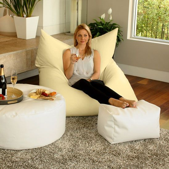 Designer bean bag in a king single size. Designed for indoor and outdoor living