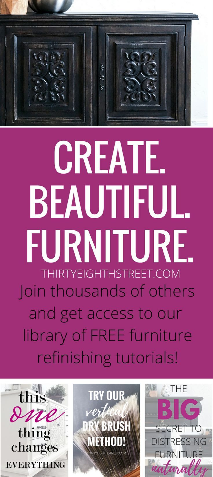 FREE painted furniture tutorials! Refinishing thrift store furniture is a budget...