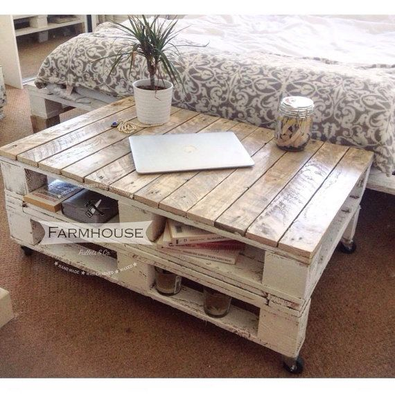 Farmhouse Industrial Reclaimed Pallet Coffee Table Shabby Chic Upcycled Wheels F...
