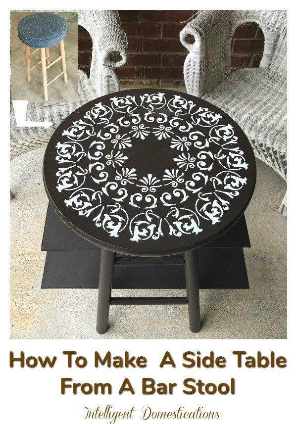 How to turn a bar stool into a side table. Easy wood DIY project using few tools...