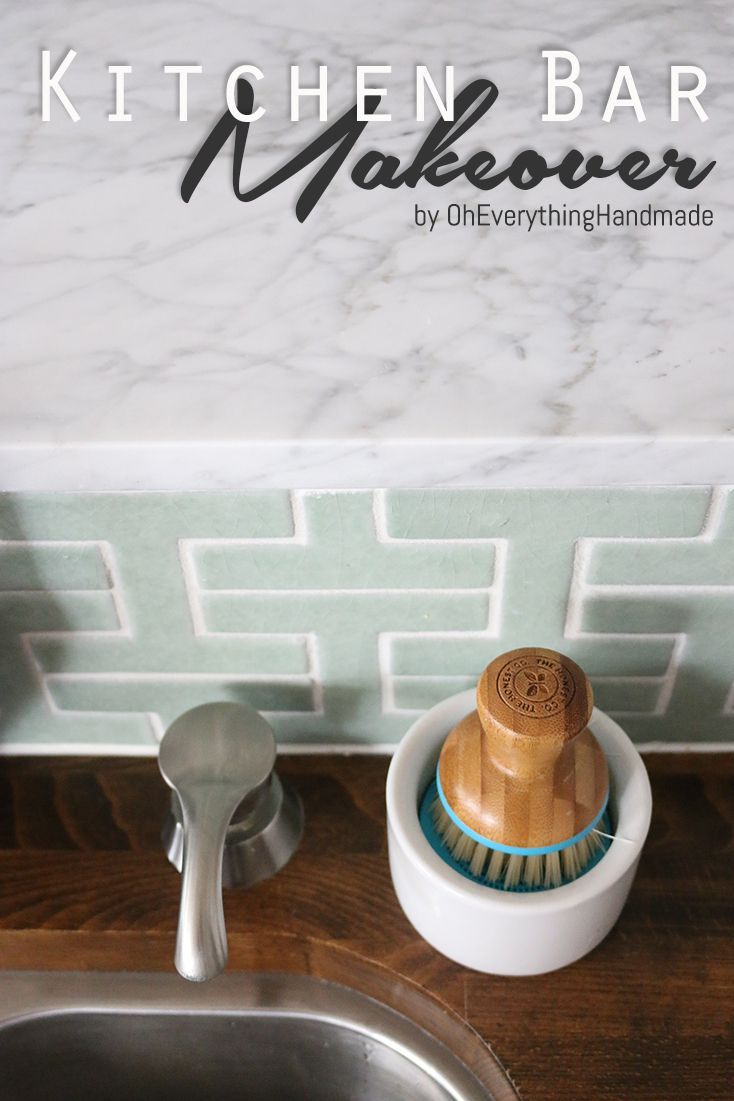 Marble Kitchen Bar Top Makeover - Oh Everything Handmade #kitchen #countertop #m...