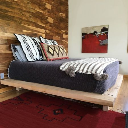 Pine scaffolding planks are perfect for making this chunky platform bed. You can...