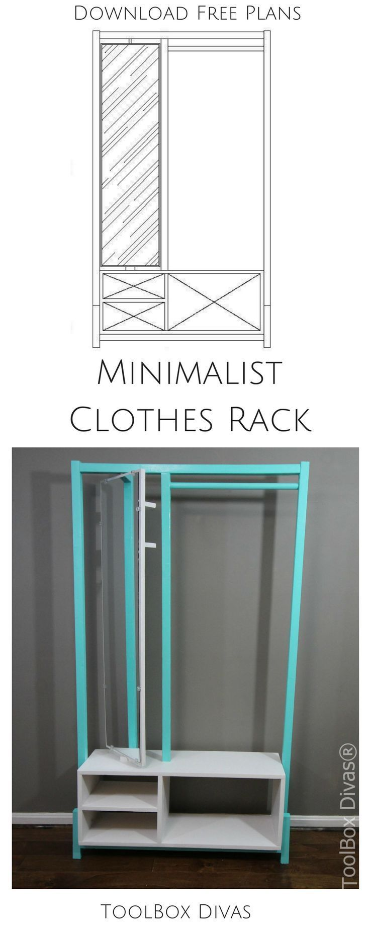 Stylish DIY Clothes Rack with mirror and place to store makeup perfect for small...