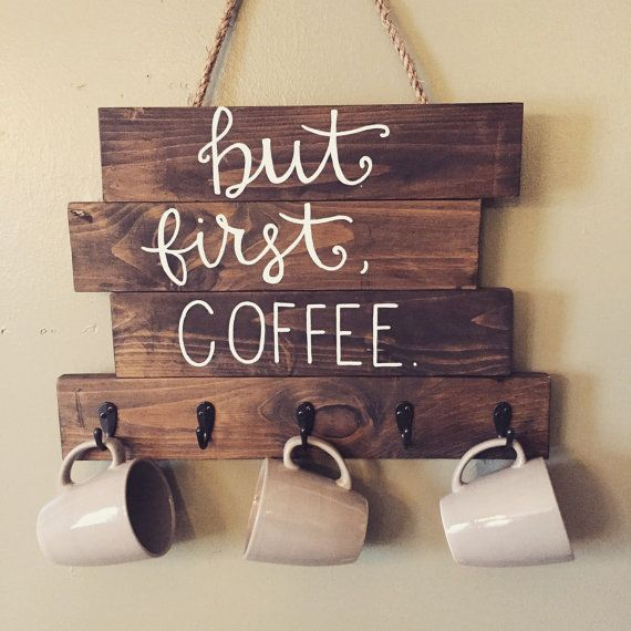 Wood coffee cup holder but first coffee wood by LoveBirdsChic
