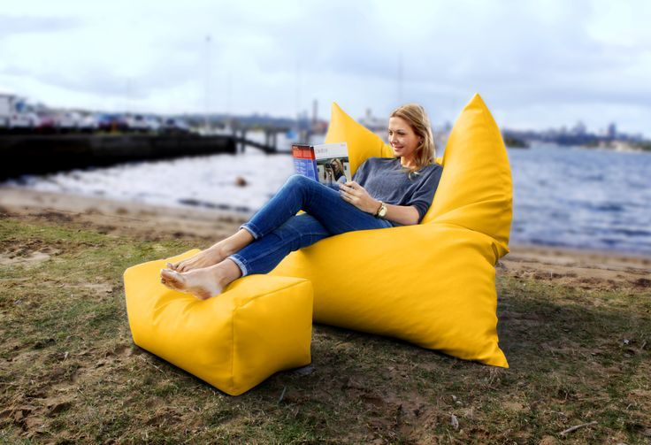 bright yellow king bean bag with footstool. Used as an upright chair. Bean Bags ...