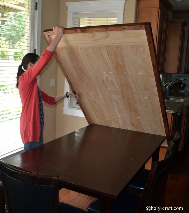 easy DIY planked farm style table top that will cover your existing table to cre...