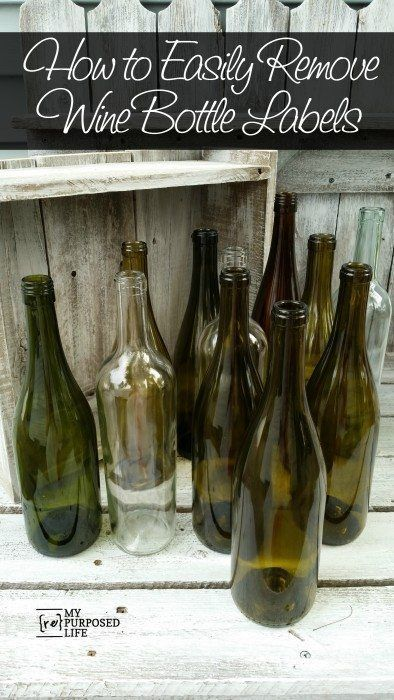 how to easily remove wine bottle labels. Bonus: paint the and add images. #craft...