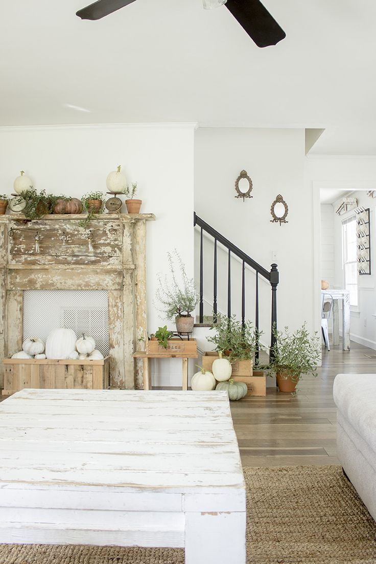Our Fall Living Room - Fall Garden Terra Cotta Pot Fireplace Mantle Decorated Wi...