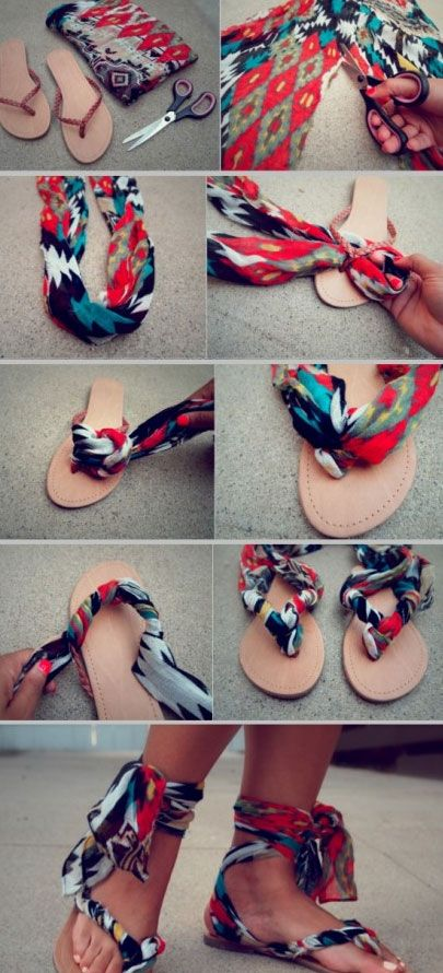 23 Life Hacks Every Girl Should Know - Colorize Your Sandals With Leftover Fabri...