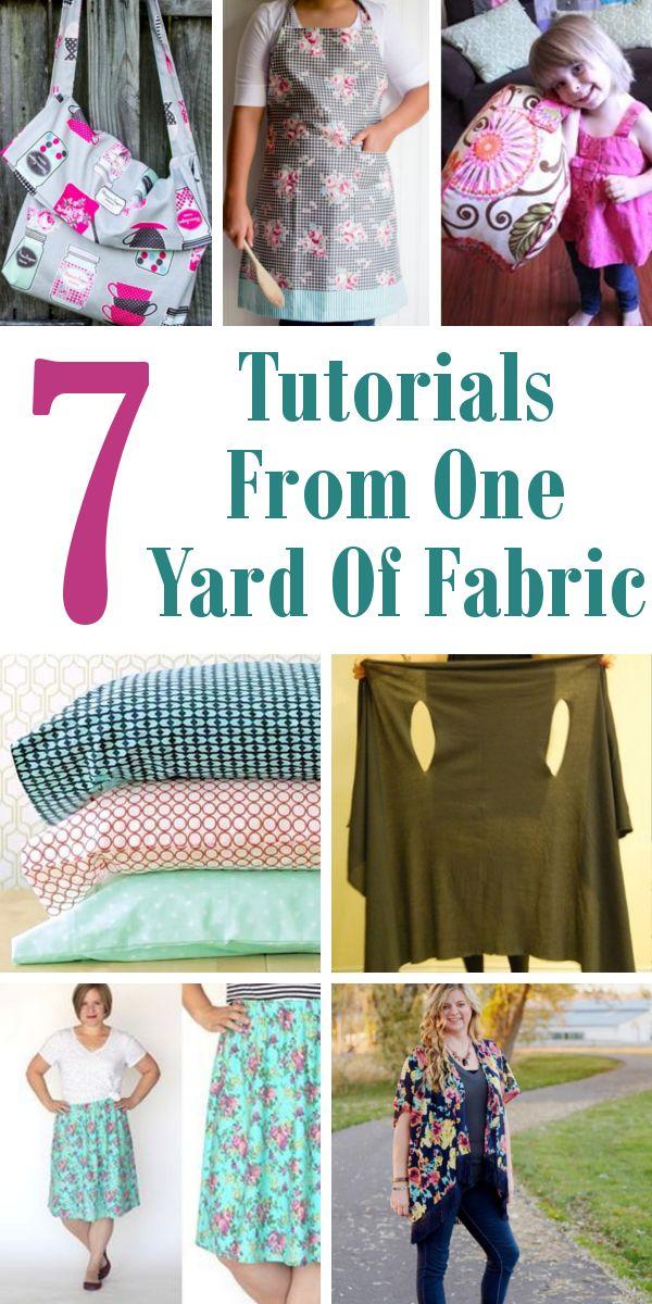 7 Tutorials From One Yard Of Fabric. #OneYardOfFabric #SewingProject #Fabric Hor...