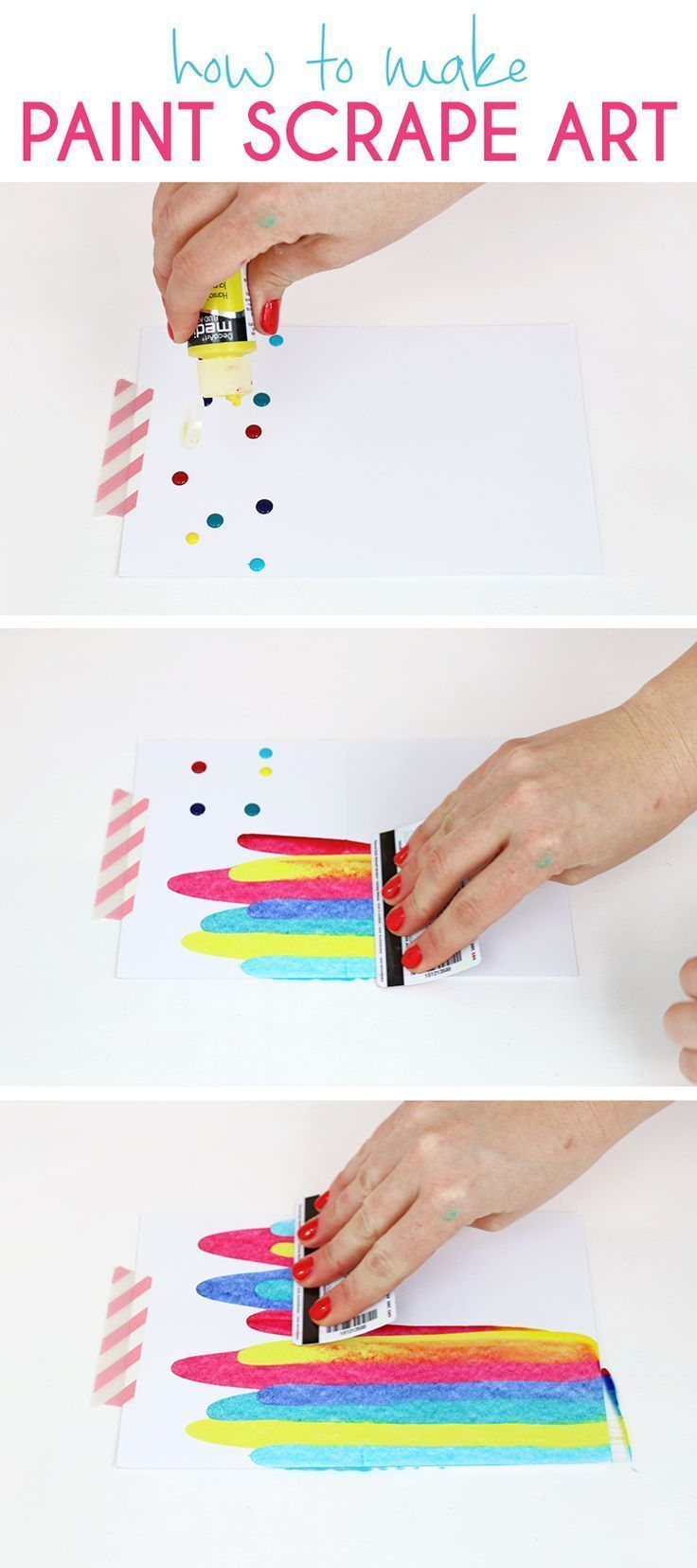 How to make paint scrape art notecards. Fun and simple DIY art project idea for ...