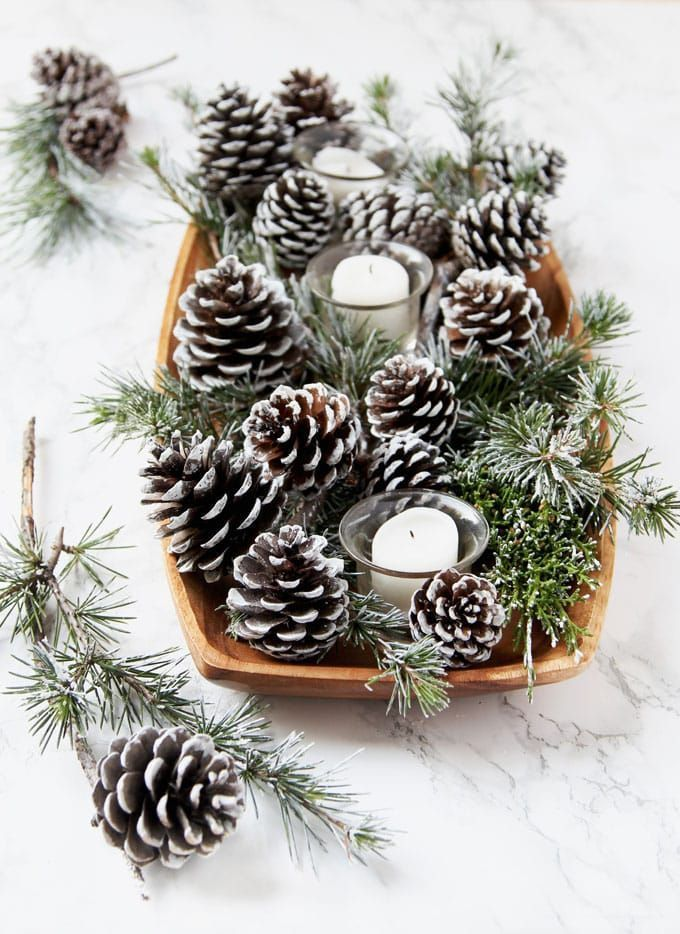 3-minute gorgeous DIY snow covered pine cones & branches in 3 ways! Easy pinecon...
