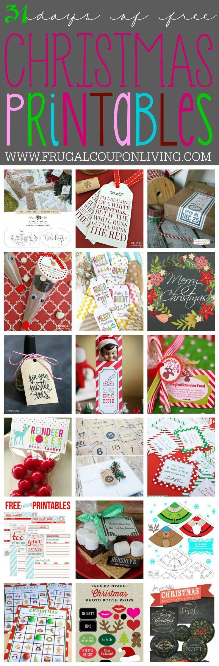 31 days of Free Christmas Printables on Frugal Coupon Living. You can jingle all...