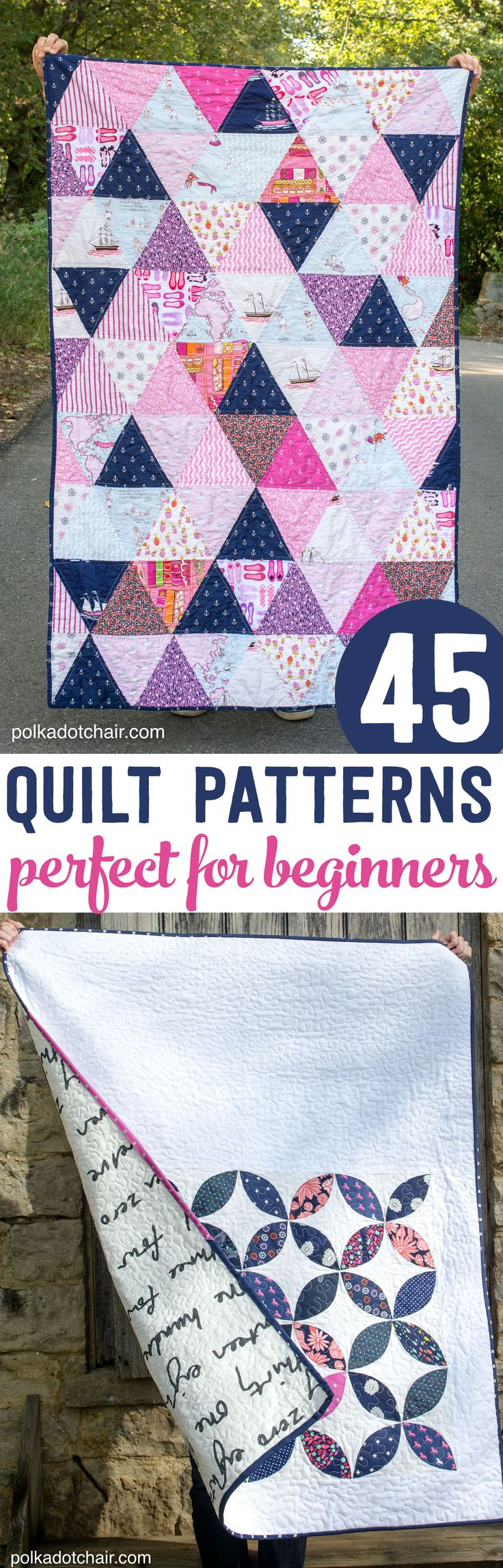 45 Quilt Patterns perfect for a beginning quilter- most of them are free! #begin...