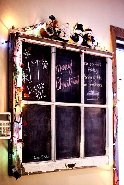 An old window frame turned chalkboard.