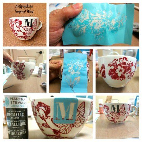 Anthro Inspired Mug made with Martha Stewart Glass Paints - 32 Brilliant DIY Ant...