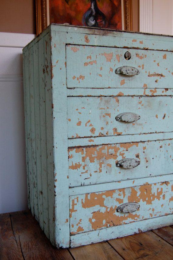 Aqua farmhouse drawer unit.