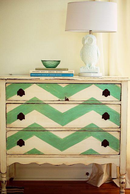 Chevron Painted Dresser.