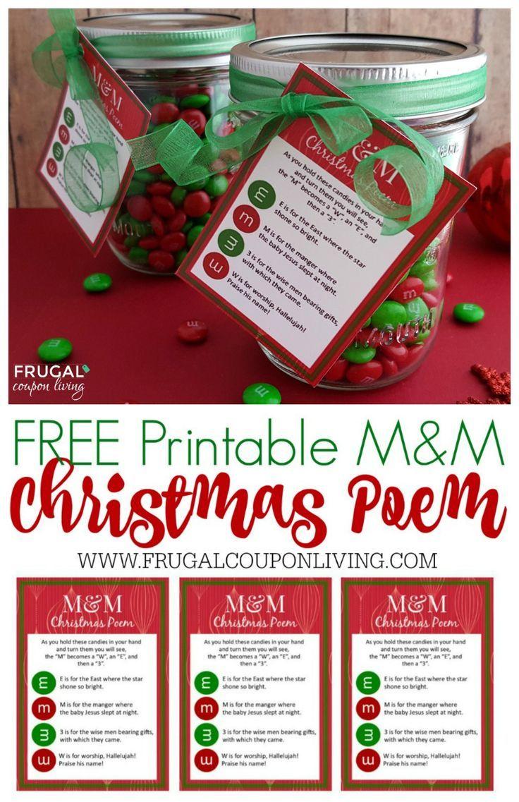 Christmas M&M Poem - free printable Christmas Gift Tag and Mason Jar Gift Idea. ...