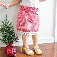 Christmas Skirt with Pom Pom trim sewing Tutorial