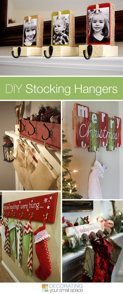 DIY Christmas Stocking Hangers • Projects and Tutorials! A great round-up of c...