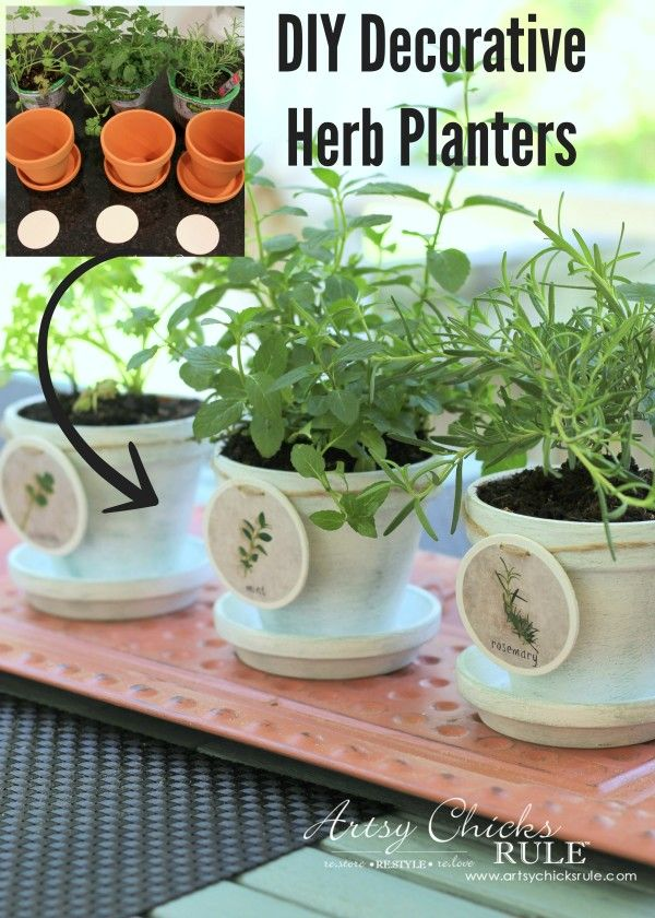 DIY Decorative Clay Pots for Herbs - Mint, Cilantro and Rosemary Labels Tutorial...