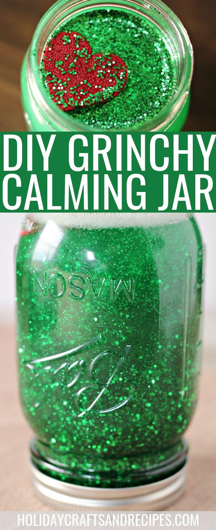 DIY Grinchy calming jar | calming jar | calming jar craft | Christmas calming ja...