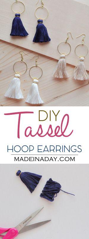 DIY Hoop Tassel Earrings, Learn to make super trendy tassel earrings! Tassel hoo...