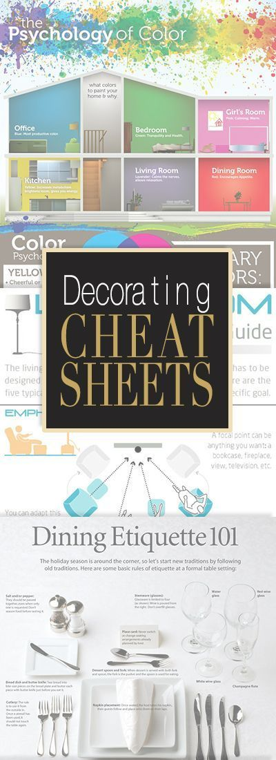 Decorating Cheat Sheets • All the info you will ever need for home decorating ...