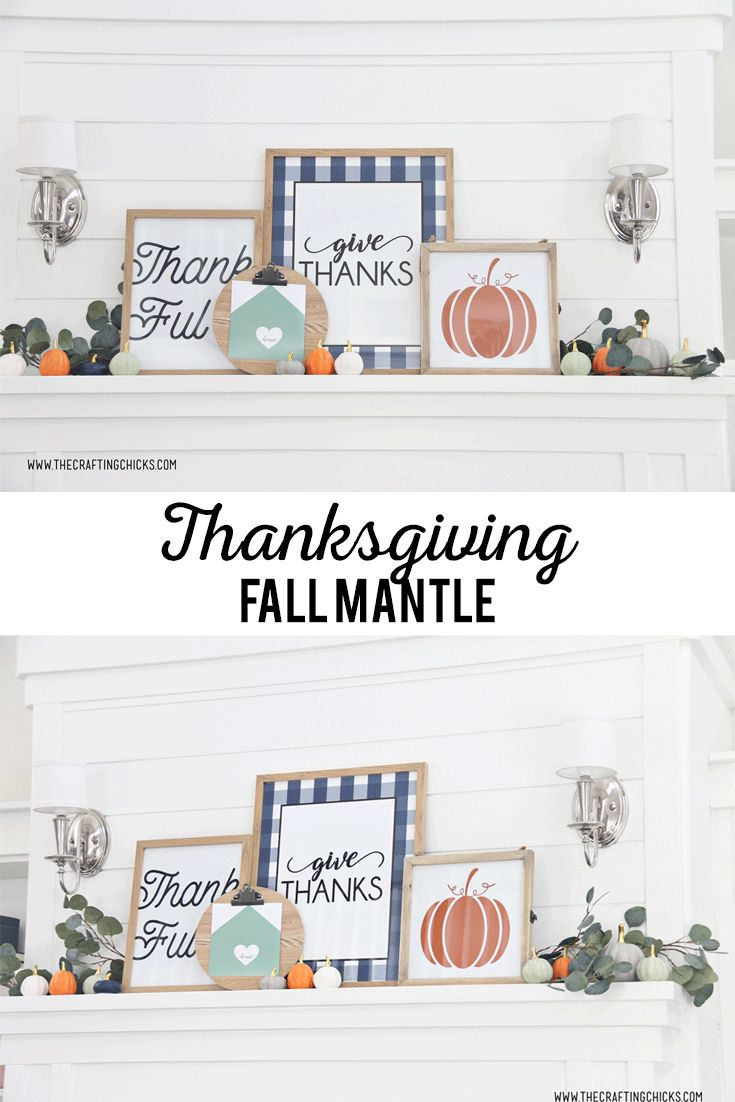 Decorating a Thanksgiving Fall Mantle will be so easy with these beautiful Thank...