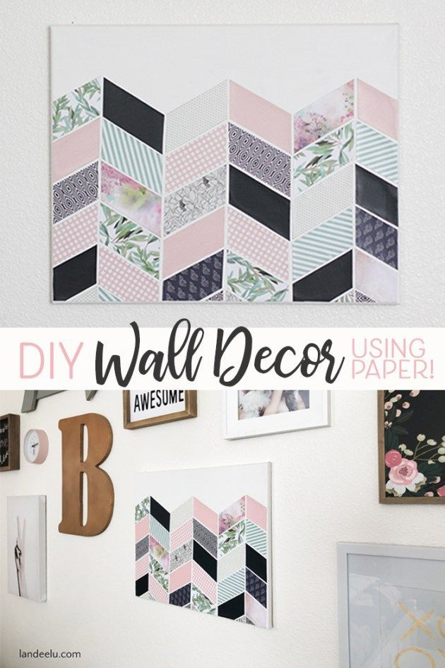 Easily create this DIY wall decor using decorative papers, a blank canvas and mo...