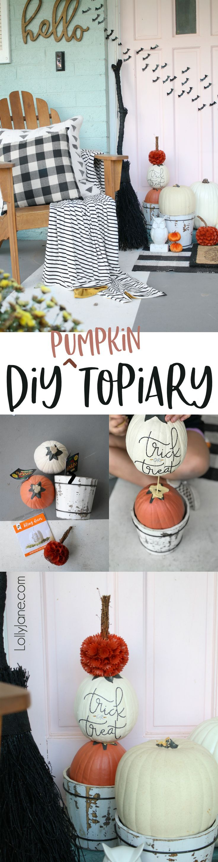 Easy DIY Pumpkin Topiary... and a kid-friendly project! Display on your porch to...